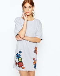 House Of Holland Floral Embelished Short Sleeve T Shirt Dress Grey