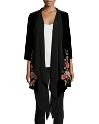 Johnny Was Velvet Drama Embroidered Coat Women's Black