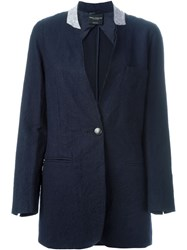 Erika Cavallini Semi Couture One Button Blazer Blue