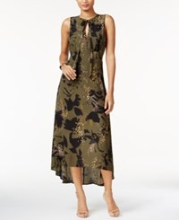Bar Iii Printed High Low Maxi Dress Only At Macy's True Olive Combo