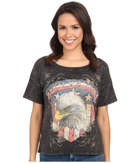 Rock And Roll Cowgirl Short Sleeve Oversize Tee 49T3380 Black Women's T Shirt
