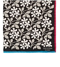 Penrose London Men's Floral Silk Twill Pocket Square Black
