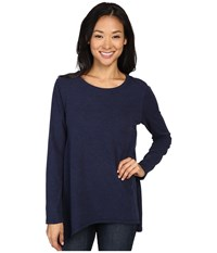 Dylan By True Grit Luxe Suede Knit Long Layer Tee Real Blue Women's T Shirt