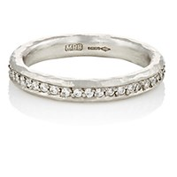 Malcolm Betts Women's White Diamond And Hammered Platinum Eternity Ring Silver No Color Silver No Color