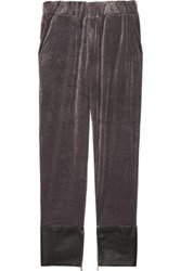 Les Chiffoniers Leather Trimmed Velvet Pants