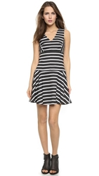4.Collective Striped V Neck Flirty Dress Black Multi