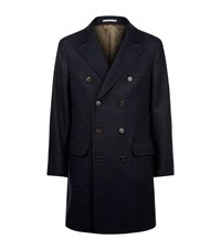 Brunello Cucinelli Prince Of Wales Check Wool Cashmere Coat Male Navy