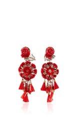 Ranjana Khan Red Rop Flower Earrings With Tassels