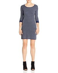 Foxcroft Geo Print Sweater Dress Navy