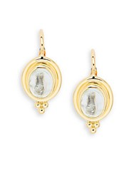 Temple St. Clair Cabochon Aquamarine And 18K Yellow Gold Classic Oval Earrings