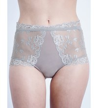 Free People Dream Of Me Stretch Lace High Waisted Briefs Fog
