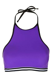Topshop High Neck Sporty Bikini Top Purple