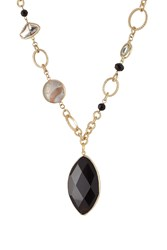 Kenneth Jay Lane Gilded Necklace With Faceted Stones Black