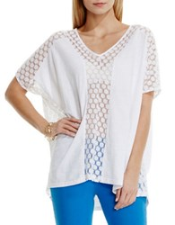 Vince Camuto Embroidered Mesh Poncho Top White
