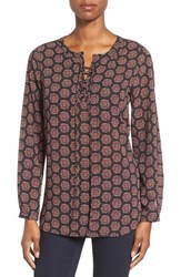 Pleione Women's Print Lace Up Split Neck Blouse