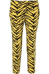 Boutique Moschino Tiger Print Crepe Straight Leg Pants Yellow