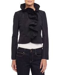 Red Valentino Ruffle Trim Cropped Jacket Black