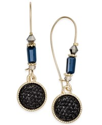 Inc International Concepts Gold Tone Jet Glitter Drop Earrings Only At Macy's