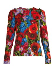 Dolce And Gabbana Floral Print Silk Blend Charmeuse Top Red Print