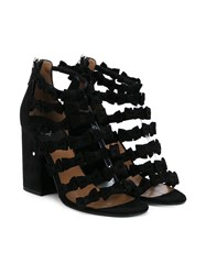 Laurence Dacade Mimi Bow Embellished Suede Sandals Black