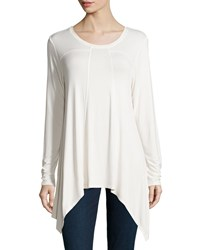 Chelsea And Theodore Long Sleeve Shark Bite Top Ivory Towe