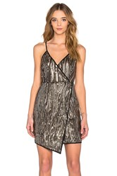 Lucy Paris Twinkle Asymmetrical Dress Metallic Gold