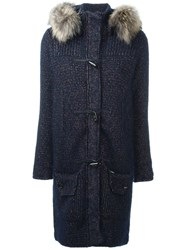 Bark Raccoon Fur Trimmed Chunky Knit Cardi Coat Blue