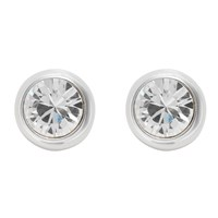 Finesse Rhodium Plated Crystal Stud Earrings Silver