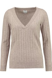 Madeleine Thompson Ribbed Cashmere Sweater Taupe