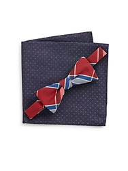 Original Penguin Plaid Bow Tie And Polka Dot Pocket Square Set