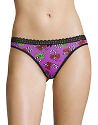 Betsey Johnson Printed Thong Candy Cane