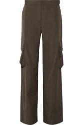 Helmut Lang Cotton Twill Wide Leg Pants Army Green