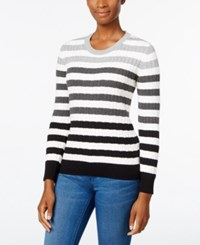 Karen Scott Striped Cable Knit Sweater Only At Macy's Dp Blk Com