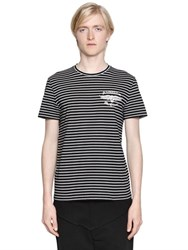 Alexander Mcqueen Logo Flocked Striped Jersey T Shirt