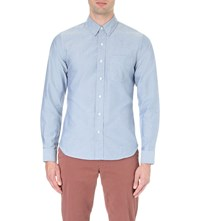Orlebar Brown Oliver Tailored Fit Cotton Shirt Grey Steel