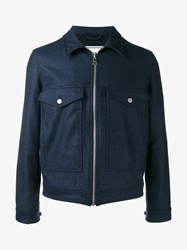 Ami Alexandre Mattiussi Wool Blend Zipped Jacket Indigo