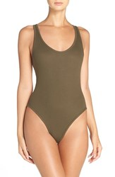 Free People Women's Stretch Cotton Leotard Bodysuit Olive