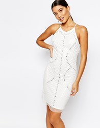 True Decadence Cami Strap Sequin Embellished Dress White