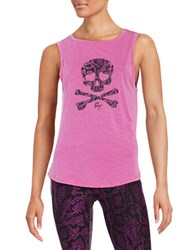Betsey Johnson Skull Graphic Tank Top Pink Multi