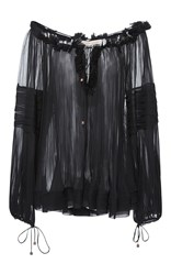 Maria Lucia Hohan Liana V Neck Bell Sleeve Sheer Georgette Top Black