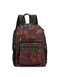 Ash Billy Small Leather Camo Backpack Bordeaux Black