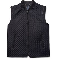 Brioni Leather Trimmed Quilted Silk Gilet Navy
