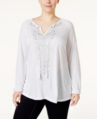 Inc International Concepts Plus Size Embellished Peasant Tunic Only At Macy's Bright White