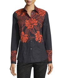 Etro Floral Stencil Print Stretch Cotton Blouse Black Red Red Black