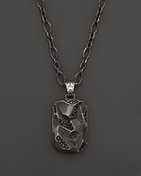 John Hardy Men's Classic Chain Silver Lava Dog Tag Pendant On Chain Necklace With Black Sapphire Silver Multi