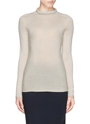 Armani Collezioni Rib Knit Panel Wool Turtleneck Sweater Neutral