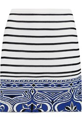 Emilio Pucci Striped Intarsia Knit Mini Skirt White