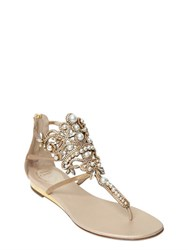 Rene Caovilla 10Mm Metallic Leather And Pearls Sandals