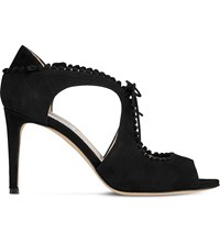 Lk Bennett Ellena Cut Out Suede Heeled Sandals Bla Black