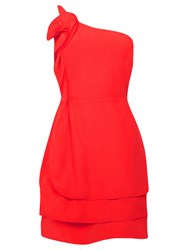 Oasis Ruffle One Shoulder Dress Rich Red